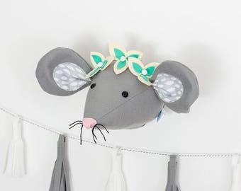 Mouse, Nursery, decor, wall art, woodland nursery, felt flowers, mouse head, woodland animals, baby room, girls bedroom, felt mouse