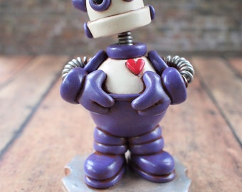 Rusty Mini Robot Sculpture TECHIE Gift GEEK DECOR One Of A Kind Keepsake Grumpy Companion