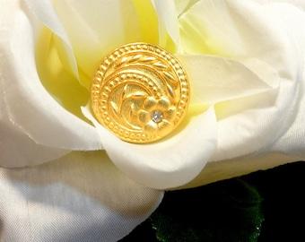 Gold Button Cover, Gold Rhinestone Button Cover, 1970 Gold Tone Button Cover, Vintage Button Cover