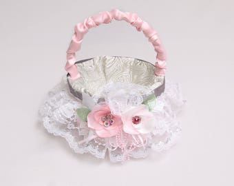 Pink satin and lace with touch of silver wedding basket with handmade pink flower, Pink & silver basket, Alternative bouquet of flower girl