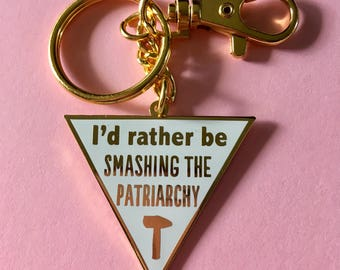 Smash the patriarchy keychain / Feminist keychain / I'd rather be smashing the patriarchy / Feminist purse charm / Cute keychain