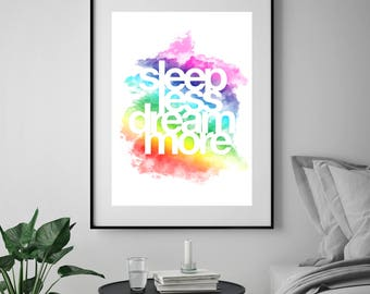 typography, dreams, typography poster, typography print, typography poster, typography wall art, quote poster, typography quote, bedroom art