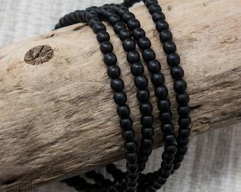 4mm Matte Black Czech Glass Druk Beads - Matte Black Round Beads -3058- Matte Black Smooth Round Druk - 4mm Black Druk - 50 Beads