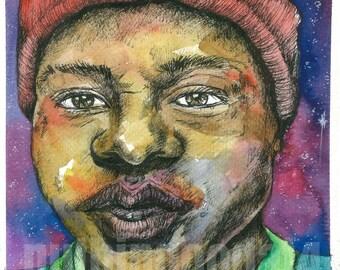 Boy in a Red Beanie Art PRINT