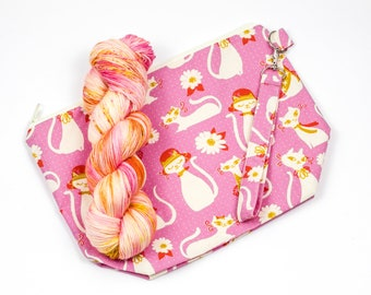 """PRE0RDER--""""Feline Friends""""--Project bag and matching yarn kit"""