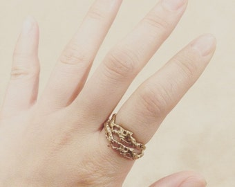 Ravenna Sea Ring // Handmade stackable ring // lost wax cast bronze ring