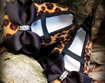 SALE- Wild and Sophisticated-Baby Cheetah Print Soft Sole Shoes with Black Grosgrain Ribbon Bow Accented with SWAROVSKI CRYSTALS