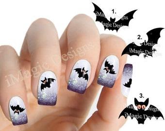 Halloween Nail Stickers Tattoos, Waterslide Nail Decals, Bats