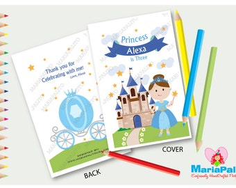 6 Cinderella Princess Coloring Books, Cinderella Birthday Party, Personalized Coloring Books Party Favors  A1289