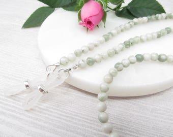 Gemstone glasses holder; green glasses chain; eyeglass chain; glasses leash; spectacles holder; gemstone; optical chain; reading glasses