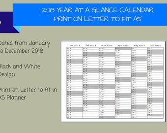 2018 Dated Year at a Glance Calendar on 2 Pages Printable Planner, Print on LETTER to fit A5 Planner, {Digital Download}