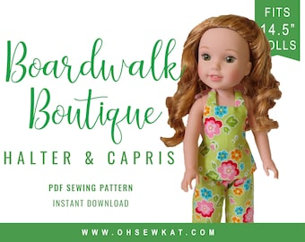 Wellie Wishers Doll Clothes Sewing Pattern - 14.5 inch Doll Clothes  Boardwalk Boutique Halter Top and Ruffle Capri easy to sew doll clothes