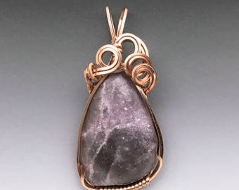 Lepidolite 14K Pink Rose Gold GF Wire Wrapped Pendant - Ready to Ship!