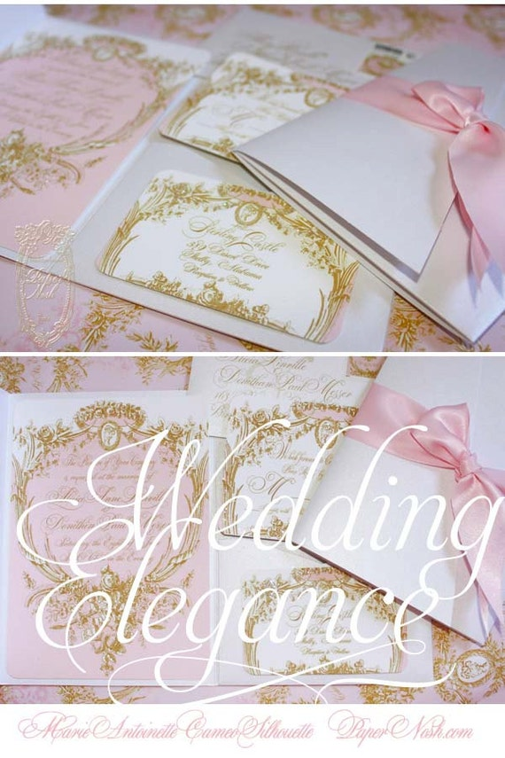 Marie Antoinette Wedding Invitations Pink and Gold Cameo