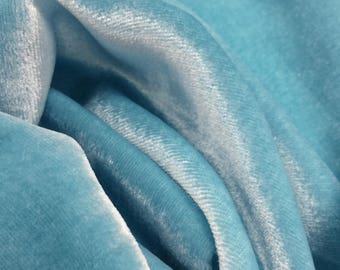 Silk velvet fabric - approx 140cm - 54 inches wide- Aqua - priced per yard