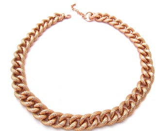 Fashion jewellery gold plated oversized chunky large textured rope choker chain necklace qvB9teE