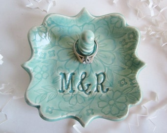 Ring holder dish, ring holder, bride to be gift, monogrammed ring dish, handmade personalized ring dish. ceramic pottery