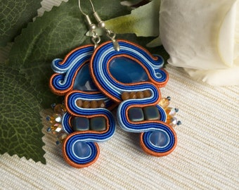 Dangle soutache earrings, long blue red earrings, colorful summer earrings, cute girls earrings, birthday gift for girlfriend light earrings