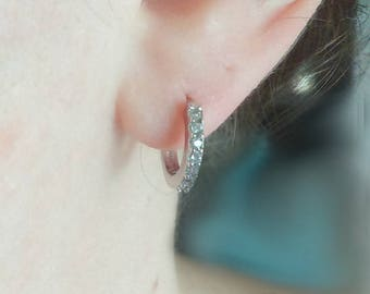 Small silver hoop earrings - Silver and rhinestones earrings - Silver hoops - Small earrings - One pair - Minimalist jewelry