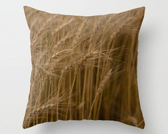 Farmhouse Pillow Cover, Rustic Country Wheat Throw Cushion Case, Earthy Chic Style, Camper Accent, Gift for Farmer, Botanical Art Decor