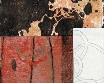 """Wahrheit entstehen - Original Collage mit von Hand gezeichnet und bemalte Papieren 4 x 4 auf 5 x 5"""" sichern"""