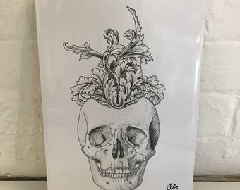Skull thoughts. A4 print by Jo Chastney