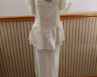 Vintage Wedding Dress 80s 90s Ivory Satin Like Fabric by Dance Allure Alfredo Angelo Inc Floor Length Long Gown