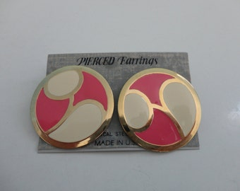 VINTAGE pink ivory gold circle POST EARRINGS