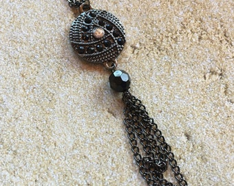 Metal Pendant with Rhinestones, Metal Necklace, Jewelry, Womens Jewelry, For Her