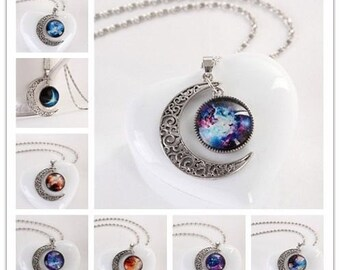 Moon and Planets, Necklace set with chain Beautiful Boho Bohemian galaxy wiccan, witch