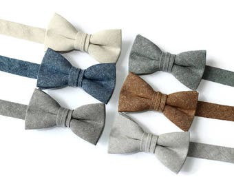 Boys Linen Bow Tie~Boys Bow Tie~Boys Bow Ties~Church Tie~Bow Tie~Wedding~Ring Bearer~Gift~Linen Bow Tie~Natural Linen~Brown Linen~