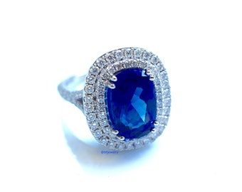 CLEARANCE! 14K White Gold 4.83 Carat Cushion Cut Tanzanite And Diamond Ring