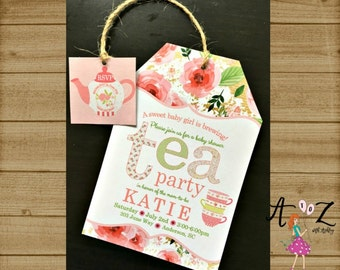 Tea Party Baby Shower Invitation, Tea Bag Invitation, Tea Party Invitation, Baby is Brewing Baby Shower Invite, Pink Invitation, Printable