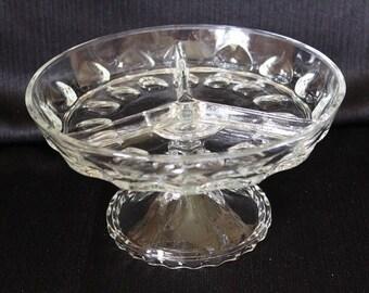 Vintage Hazel Atlas Glass Divided Pedestal Dish
