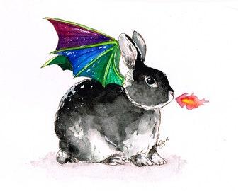 Fantasy animal and landscape watercolor prints by aquabun on etsy dragon bunny watercolor painting print rabbit pet animal art bunnies gift fantasy art childrens art nursery altavistaventures Image collections