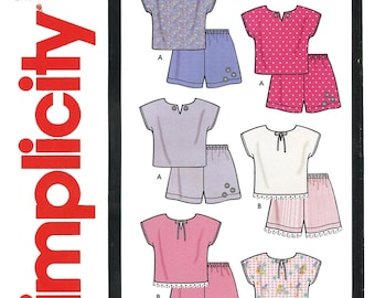 Toddler's Pullover Tops & Shorts sizes 1/2-4 Simplicity It's So Easy Sewing Pattern # 9796