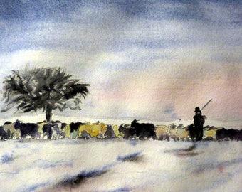 watercolor the herd with his shepherd in winter