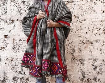 Vintage Embroidered Shawl Blanket, Tribal Shawl, Traditional Kulu Shawl, Extra Large, Unique, Patu Shawl