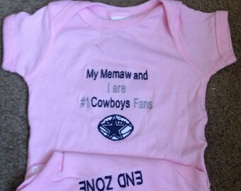 Personalized Embroidered Dallas Cowboys Fan Football Baby Girls Pink Infant Newborn Creeper
