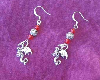 Handcrafted DRAGON FANTASY Silver Plated Charm Dangle Drop Earrings....choose bead color
