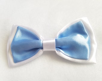 White + Baby Blue Satin Double Bow tie for kids toddler or baby Sizes NB - 7 Yrs