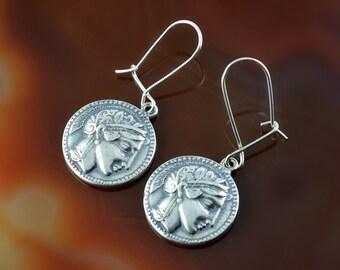 ancient greek coin silver earrings, Athena earrings, ancient coin, greek jewelry, coin earrings, antique earrings, greek goddess earrings
