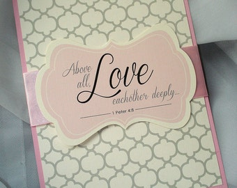 Love Each Other Modern Pattern Pink White Gray Black Christian Bible Verse God Jesus Silver Belly Band Affordable Wedding Invitation -Sample