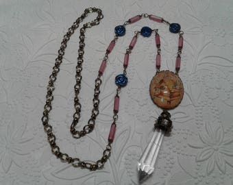Pink and blue birdhouse necklace
