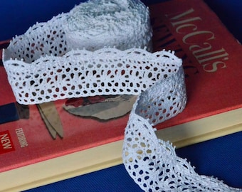 4.5 Yards of White Cotton Cluny Lace Trim With Scalloped Bottom Edge 1.75 Inches Wide