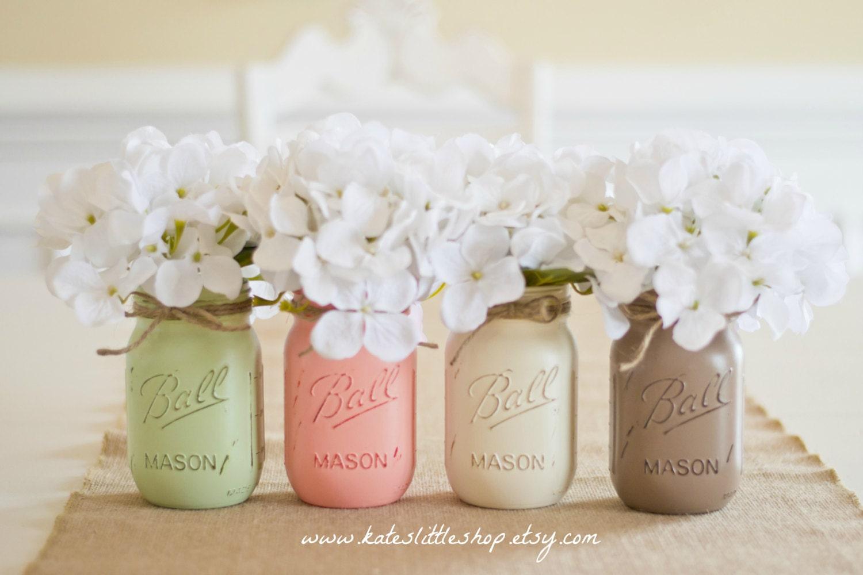 Set of 4 Pint Size Painted Mason jars. Sage/Peach/Cream/Mocha.