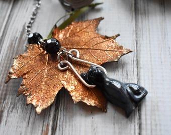 Black Cat Tea Infuser - Blue Tiger Eye Gemstone Tea Ball- Cat Tea Charm Dangle- Black Cat Witch Halloween Mesh Tea Infuser