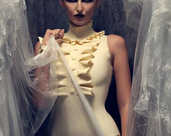 Latex clothing Felice high neck ruffle Bodysuit with cover buttons in White Lingerie