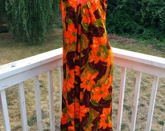Vintage Resort Wear Barkcloth Hawaiian Casuals Stan Hicks Orange Brown Floral Tropical Beach Aloha Luau Muu Muu Dress