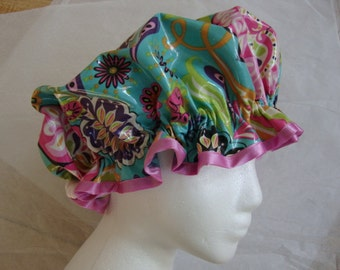 Floral Fantasy Vintage Shower Cap-Pink. Fancy Shower Caps for Women in Laminated Cotton. One Adult Size.